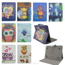 Film+Luxury Case For DNS AirTab E71 7.0 inch Fashion OWL Style PU Leather Stand Cover for universal 7 inch cases+Film KF492A(China)