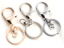 5pcs/lot 30mm Key Ring Long 70mm Rhodium Plated and Rose Gold Color lobster clasp key hook chain jewelry making for keychain
