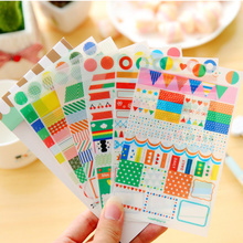 6pcs/lot Lovely rainbow market PVC Sticker for DIY Scrapbooking Diary Phone Sticker Products Design Paster Kawaii Stationary(China)