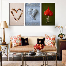 Heart Shape Shell Wall Pictures Modern Canvas Painting Red Mushroom Still Life Painting Unique Git For Wedding Room Decoration