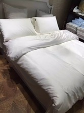 4pcs 100% Cotton 60S 300TC sateen fabric pure white hotel style duvet cover set queen size bedding king bed linen sheets