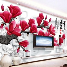 Beibehang mural custom wallpaper 3D stereoscopic red room mural paintings magnolia photo wallpaper wall papers home decor