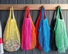 Reusable Fruit  Storage Bags Folding Storage Totes Shopping String Grocery Shopper Cotton Tote Mesh Woven Net Bag