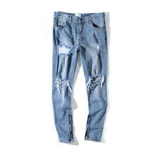 fear of god fog moto biker men's Hole classics Best version zippers skinny slim fit mens holes style cotton Denim ripped jeans