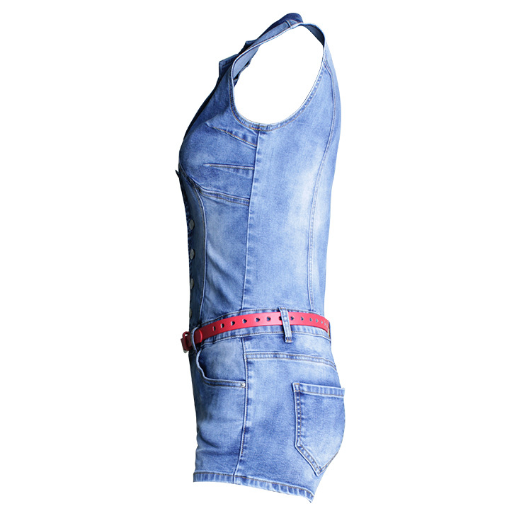 Single Breasted Women Playsuit Romper Sexy Skinny Bodysuit Denim Jumpsuits Summer Sleeveless Fashion Ladies Jeans Body Feminino (4)