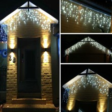 216LED 5m Window Curtain String Lights Icicle Fairy Lights Party Wedding Home Patio Lawn Garden Decorations