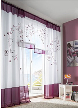 1piece embroidery curtains window screening finished product,decro voile organza curtain for home(China)