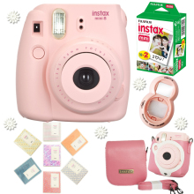 Fujifilm Instax Mini 8 Camera Pink + Fuji 20 Photos Instant Mini Plain White Film + Free Accessories Close up lens,  Album, Bag