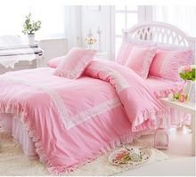 Korean cotton 3/4pcs Princess lace bedspread spring&summer bed skirt bedding twin full queen king size free shipping(China)