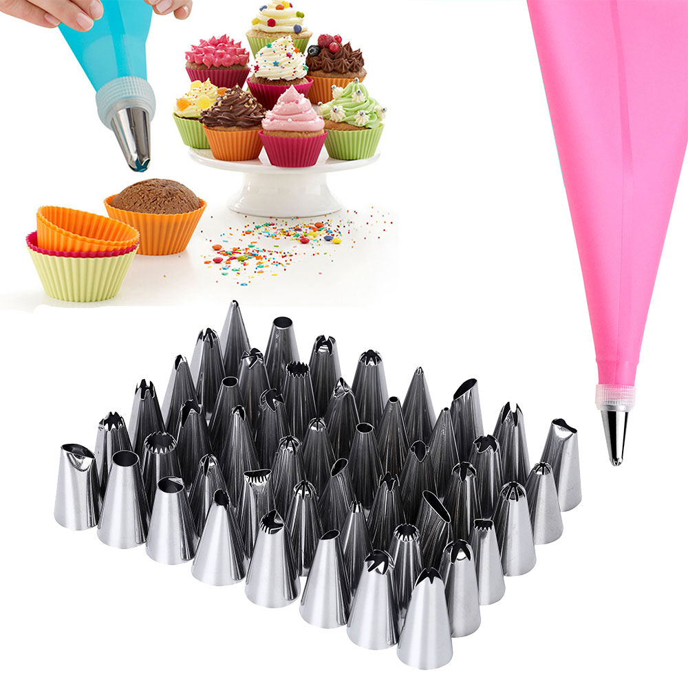 52 PCSSet 2x 12in Silicone Icing Piping Cream Pastry Bag+48x Stainless Steel Nozzle Tips+2x Converter DIY Cake Decorating Tools (3)