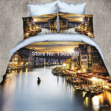 High Quality 3D Water City Venice Total 4 Pcs Quilt Cover Bed sheet Pillowcase King Queen Bedding Set