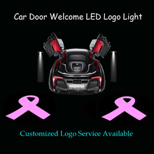2x Pink Ribbon Breast Cancer Awareness Campaign Logo Car Door Ghost Shadow Step Puddle Spotlight Projector LED Light (1262)(China)