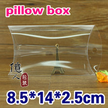 10 pcs/lot Spot PVC pillow-shaped clear  box with hook/ display gifts, jewels, stationery, towels etc.2.5*8.5*14 CM. Fashion!
