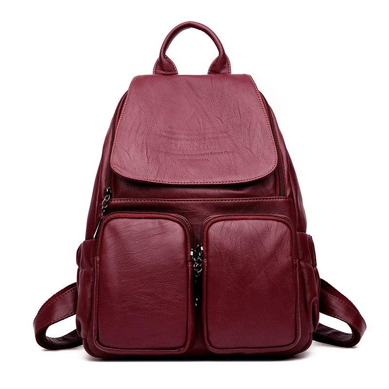 Fashion Travel Backpack Korean Women Backpack Leisure Student Schoolbag For Teenage Girl Soft Leather Women Shoulder Bag Mochila<br>