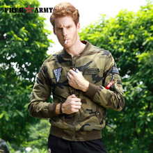 2017 Autumn Military Tactical Bomber Men Jacket 100% Cotton Pilot With Patches Khaki Camouflage Pilot O-Neck Jackets Men Coat(China)