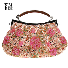Embroidery Beaded Women Clutch Bag Vintage Flower Sequins Evening Party Handbags Wedding Bridal Tote Bags Handmade Women Bag(China)