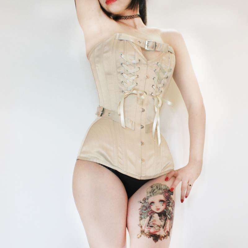 Annzley Corset Victorian Vintage Corset Top With Front Lace And Belt (6)