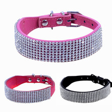 Adjustable Bling Diamante Crystal Pet Puppy Cat Dog Kitten Collar PU Leather Rhinestone Decor Pets Animals Chain