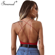 Buy Simenual Backless strap sexy bodysuits summer women clothing hot sale 2018 summer jumpsuits skinny slim female red bodysuit for $7.98 in AliExpress store
