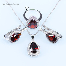 L&B Water Drop Wedding Red Created Garnet Jewelry Sets Silver Color Fashionable Pendant/ Necklace/Earrings For Women
