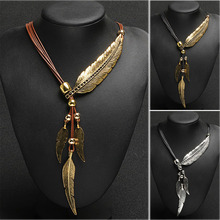 Bohemian Style Rope Chain Leaf Feather Pattern Pendant For Women Fine Jewelry Collares Statement Necklace  KQS