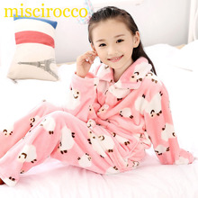 Autumn/Winter Children Fleece Pajamas Warm Flannel Sleepwear Girls Loungewear Coral Fleece Kids pijamas Homewear Winter Pyjama(China)