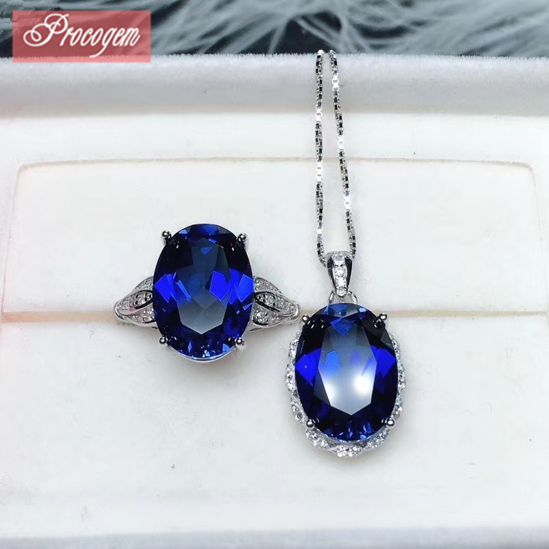 PROCOGEM High Quality Classic Sapphire Jewelry sets Rings for Women Necklaces Rings 10x14mm for Party 925 Sterling Silver #238