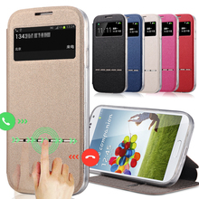 Luxury Smart Front Window View Leather Flip Case For samsung galaxy s4 s5 s6 S7 Edge S6 edge S3 S4 mini note 4 case Coque Cover