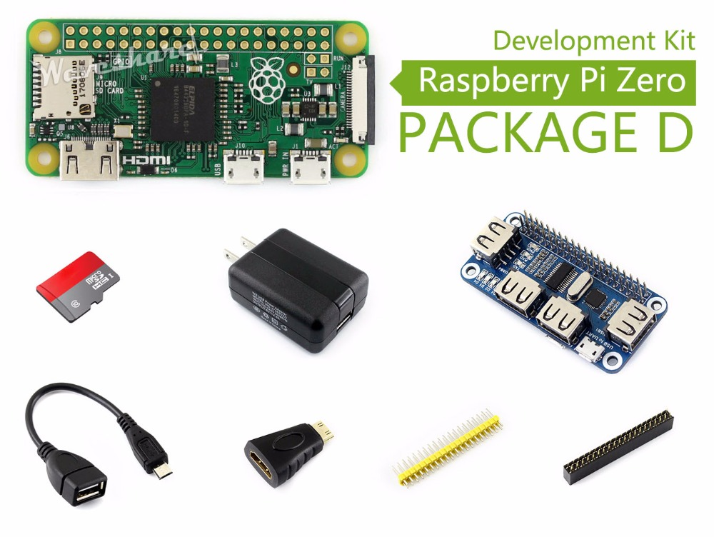 Parts Raspberry Pi Zero Package D Basic Development Kit Micro SD Card, Power Adapter, USB HUB, and Basic Components<br>
