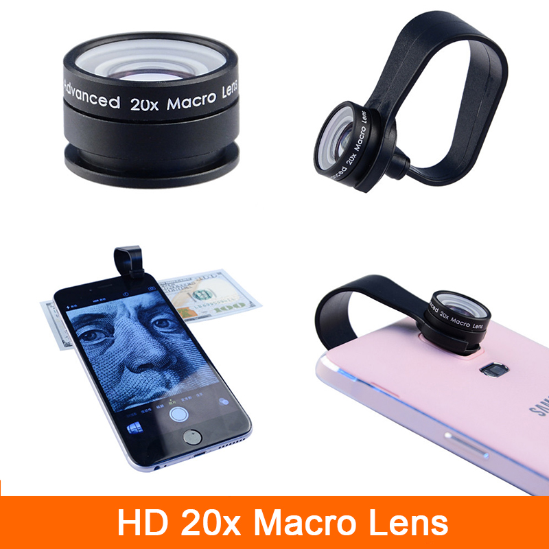 High Quality Super 20X Macro lens For iphone 4 4s 5 5s 5c SE 6 6s 7 Plus iPad Huawei HTC Microscope Mobile Phone Camera Lenses