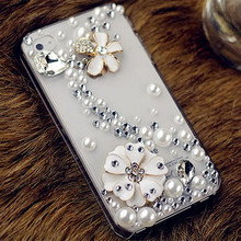 Handmade Bling Glitter Rhinestone Clear Hard Phone Case for iPhone 4s 5 5S 5C 6 6S Plus 7 7plus(China)