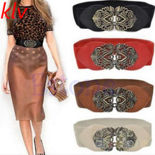 KLV Women flower PU Leather girl belt alloy elastic lady belts Vintage pu Leather Strap girl Automatic Buckle belt Waist Bag