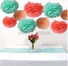 18PCS Mixed Coral Mint Peach Party Tissue Pom Poms Wedding Flowers Birthday Bridal Shower Outdoor Hanging Decoration