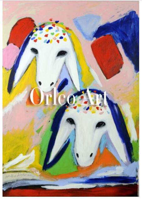 Hand Painted Reproduction Animal Oil Painting on Canvas for Room Decor Color Sheep Head Menashe Kadishman Art Imitation Painting32423