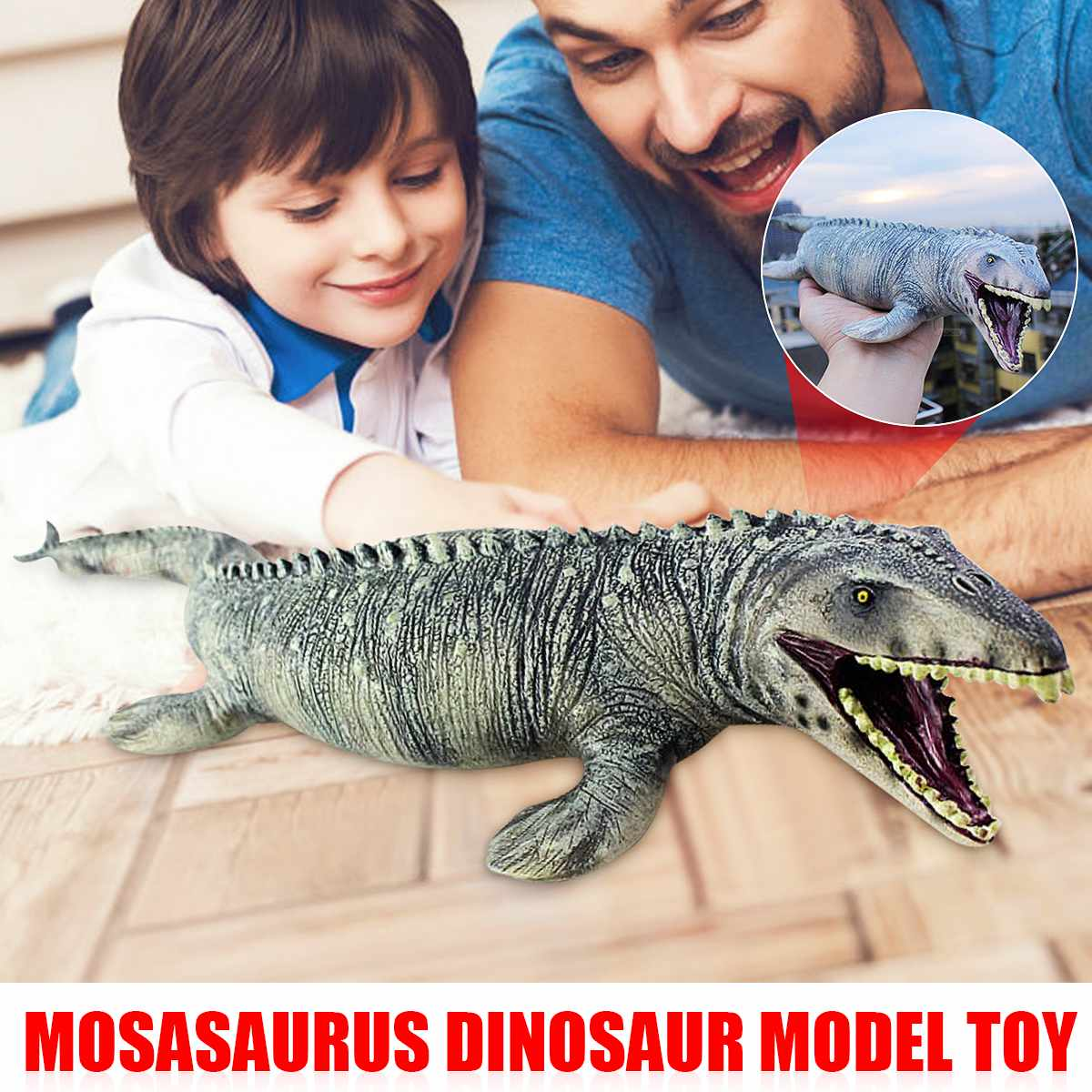 Kids Simulation Mosasaurus Model Dinosaur Toy Action Figure Hand Painted FIN