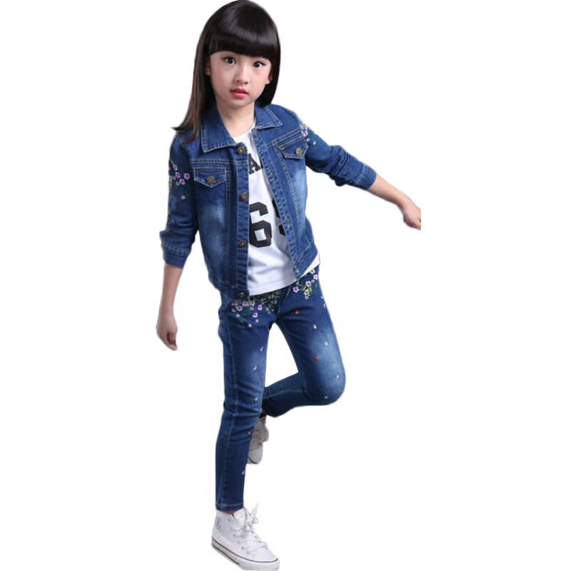 Casual Children Clothing Sets Embroidered Jean Jacket And Pants Suit Ropa De Ninas Long Sleeve Kids Tracksuit Girls Autumn <br>