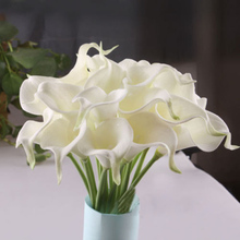 One Piece Fake Calla Lily Artificial Flower For Wedding Decoration Accessories White Decorative Flower Flor Artificial LY383
