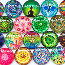 ZEROUP round glass cabochon Color-rich pictures mixed pattern fit cameo base setting flat back jewelry 20pcs/lot TP-116