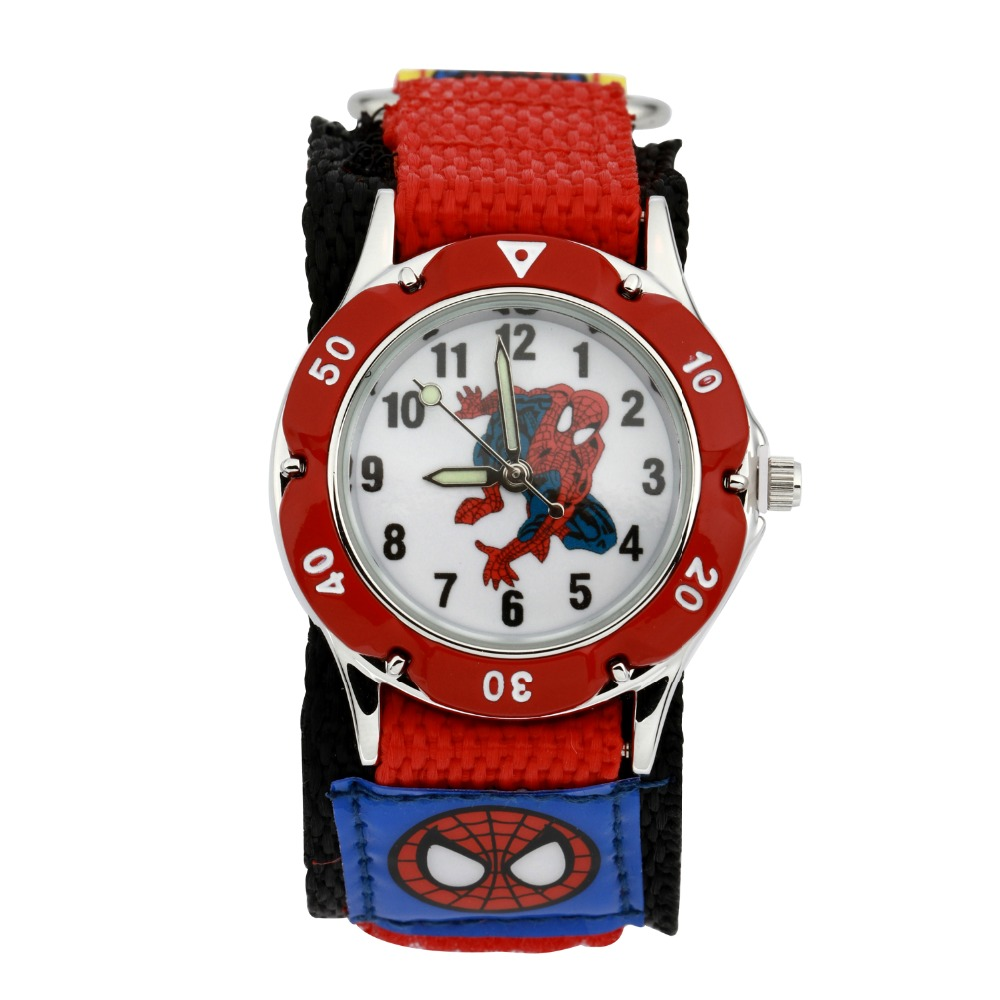 2016 Children Cartoon Spiderman Watch Fashion Boys Kids Students Spider-Man Nylon Sports cartoon-watch Analog quartz watch<br><br>Aliexpress