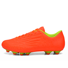 Men Football Boots 2017 Original With Spikes Blue/Orange/Green Soccer Cleats Trainers Sneakers Leather Football Cleats Shoes(China)