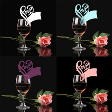50x Paper Laser Cut Love Heart Table Name Place Escort Cup Card Wine Glass Cards Wedding Baby Shower Party Decorations(China)