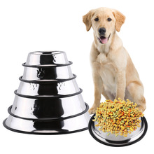 Dog Bowl Stainless Steel Pet Bowl Anti Slip Dog Cat Puppy Food Holder Water Feeder Feeding Dish 5 Sizes Pet Food Bowl(China)