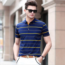 KaLeBo Business striped short-sleeved polo shirt summer new sets of thin section lapel short sleevemen's classic models