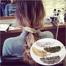 Zoeber Lady Fashion Metal Leaf Shape Hair Clip Barrettes Crystal Pearl Hairpin Barrette color feather Hair Claws Accessories