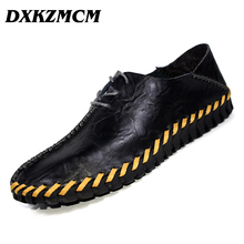 DXKZMCM Men Casual Shoes Genuine Leather Men Loafers Handmade Luxury Flats Shoes Men Chaussure(China)