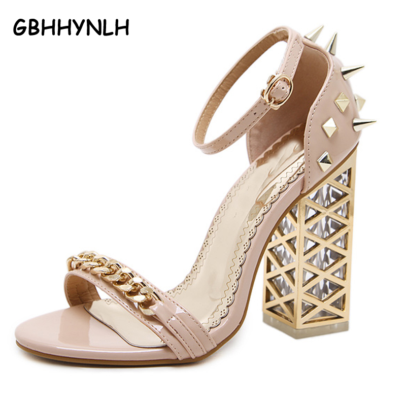 GBHHYNLH women heels 2018 Summer shoes Gladiator Sandals Women High Heels shoes Rivet pumps Women Sandals Ladies heels LJA185<br>