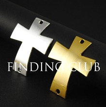 10 pcs Oversize Sideways Cross SideWays Smooth Cross Bracelet Connector Charm Beads Jewelry findings 61x47mm A678(China)