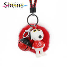 Skeins Jewelry Cartoon Comic Joe kaws Dog Pendant Pompom fluffy Keychain Rex Rabbit Fur Ball Women Car&Bang Bag Accessories(China)