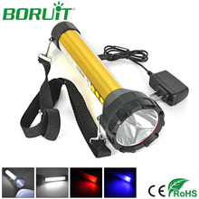 Boruit 2000lm 15 LED Flashlight White/Red/Blue Light Torches Portable Rechargeable Searchlight Camping Hunting Lamp With Charger(China)
