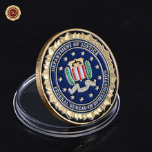 Wholesale Novelty Colorful Pure Gold Plated Coin of U.S. Department Of Justice American FBI Metal Challenge Coin For Gift(China)